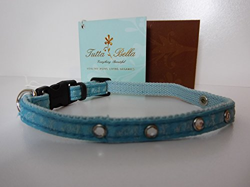 Tutta Bella 100% Organic Cotton Canvas Adjustable, Break-away Cat/X-Small Dog/Pet Collar with Soy and Bamboo fibers (Cool Blue/Chocolate)