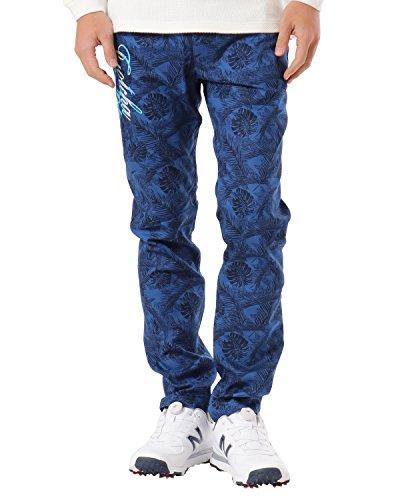 (ガッチャ ゴルフ) GOTCHA GOLF ロングパンツ 撥水 千鳥 ボタニカル柄 スーパーストレッチ パンツ 181GG1801 ネイビー XLサイズ