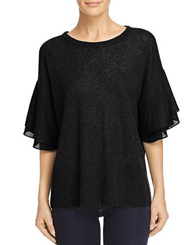 - Le Gali Womens Kelsie Linen Blend Ruffled Pullover Sweater Black S