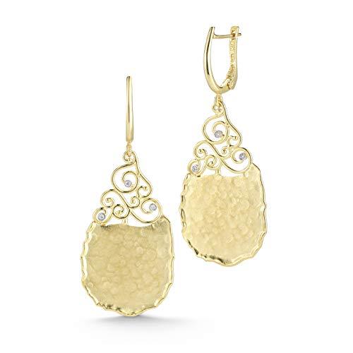 14K Yellow Gold 0.045ct TDW Diamond Accented Tear-drop Dangling -