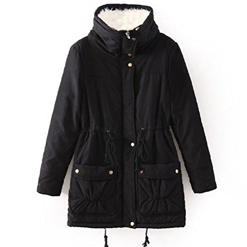 Winter Coats for Women Plus Size, Faux Fur Lined Parka Jackets Long Warm 12 Colors (Regular US Medium, Black) (Black Belted Winter Coat)