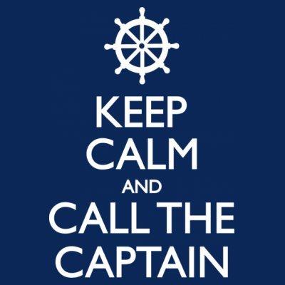 Sudadera con capucha de mujer Keep Calm And Call The Captain by Shirtcity Azul marino