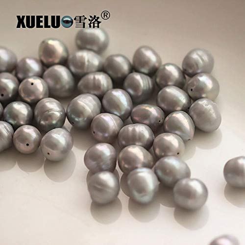 Calvas XUELUO 15pcs/Pack 11-12mm Grey Oval (Rice) Shape Natural Genuine Cultured Freshwater Big Hole Pearl Beads for Making DIY - (Color: Grey Color Pearls, Item Diameter: 1.2mm Hole Pearl) ()