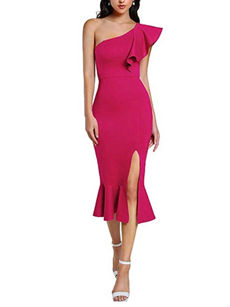 Hot Pink Aiyue Yishen Women's One Shoulder Ruffle Cocktail Dress Split Midi Party Dress
