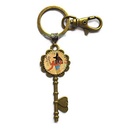 (Cioaqpyirow Anubis Key Keychain,Jackal Key Keychain,Egypt Jewelry,Egyptian God,Anubis Head,Unisex Key Keychain,Traveller Jewelry,Egyptian History,Historical,HO0E163)