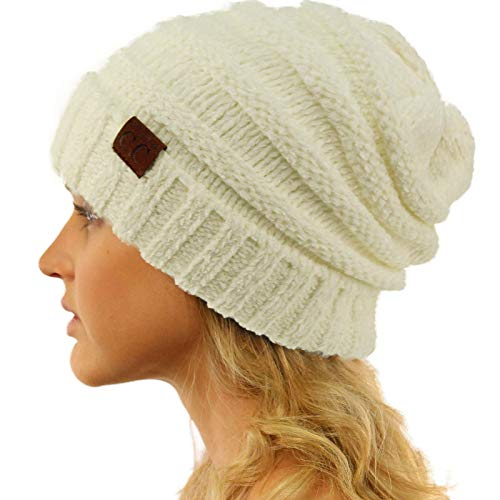 Winter Trendy Warm Oversized Chunky Baggy Stretchy Slouchy Skully Beanie Hat Chenille Ivory (Chenille Beanie Hat)