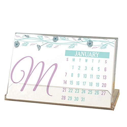 GiftsForYouNow Floral Initial Personalized Desk Calendar -