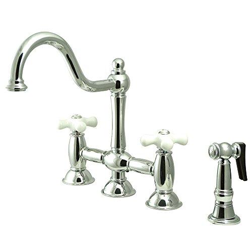 """Kingston Brass KS3791PXBS Restoration Centerset Kitchen Faucet with Brass Sprayer, 8"""", Polished Chrome"""