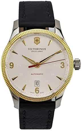 Victorinox Alliance White Dial Leather Strap Men's Watch & Gold Knife Set 249095
