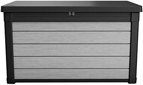 Koll Living Garden Aufbewahrungsbox 380L, grau - Deckel mit Gasdruckfedern für leichtes Öffnen und Schließen - hochwertiger Kunststoff in Holzoptik