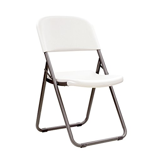 Lifetime 80155 Loop Leg Folding Chair, White Granite , Pack of 4 - Club Lightweight High Chair