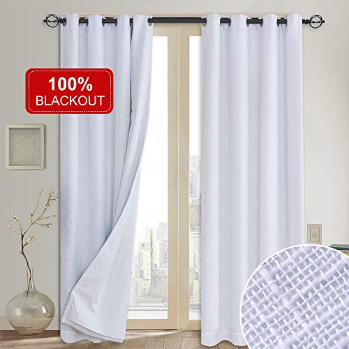 100% Blackout Curtains(with Liner),Primitive Linen Look White Blackout Curtains& Blackout Thermal Insulated Liner,Grommet Curtains for Living Room/Bedroom,Burlap Curtains-Set of 2 Panels(50x84 White)