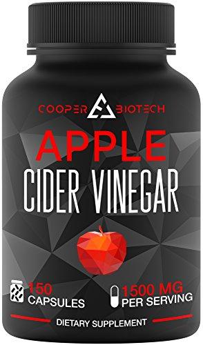 Apple Cider Vinegar Cholesterol - Apple Cider Vinegar Capsules - 150 Capsules 1500 MG - Natural Weight Loss - Healthy Diet - Appetite Suppressant - Detox - Powerful Cleanser Pills - Fat Burners For Men & Women - Metabolism Booster