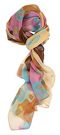 LibbySue-Floral & Graphic Print Silk Blend, Oblong Scarf in Dramatic Colors (Mosaic Light Tan 1517)