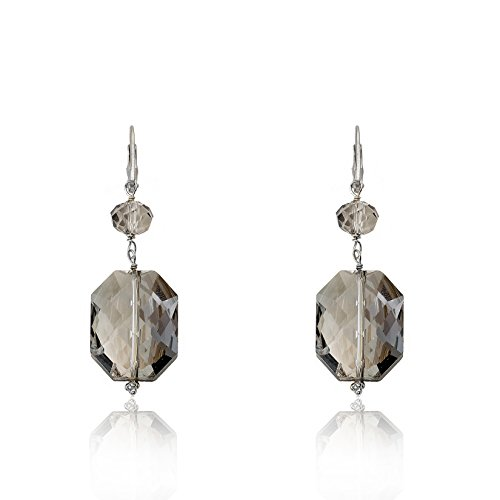 Twins Star Clear Crystal (Riccova Avant-Garde Rhodium-Plated Clear & Bronze Square Dangle Crystal Leverback Earring)