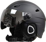 Half-Covered Ski Helmet with Goggles Visor Snowboard Helmet Winter Snow Sled Sledge Scooter Helmet Mask Moto S