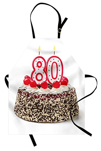 Ambesonne 80th Birthday Apron, Birthday Party Cake with Sweet Tasty Cherries Sprinkles and Candles Image, Unisex Kitchen Bib Apron with Adjustable Neck for Cooking Baking Gardening, Multicolor