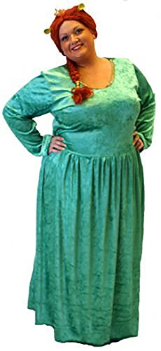Princess Fiona Green Dress (Stage-Medieval-Pantomime-Fancy Dress-Musical PRINCESS FIONA with EARS Costume - ALL LADIES SIZES (LADIES 32-36))