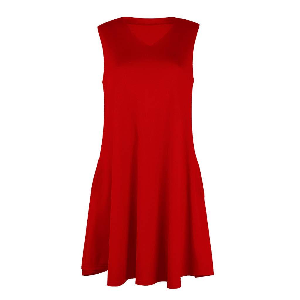 KANGMOON Women Summer Dress Plus Size Women Ladies Sleeveless Dress Midi Flared Summer Sundress Red S