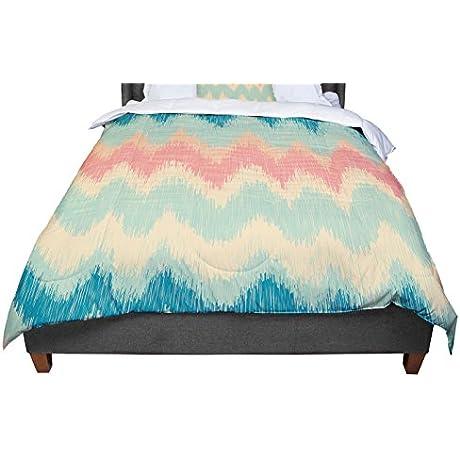 KESS InHouse Nika Martinez Ikat Chevron II Teal Queen Comforter 88 X 88