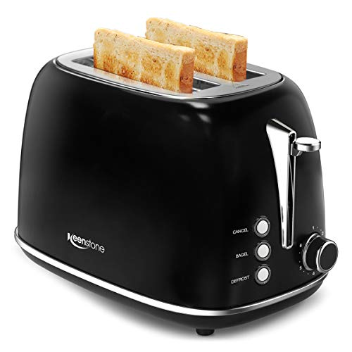 2-Slice Toasters Stainless Steel Bagel Toaster with Extra Wide Slots (Sleek Black)