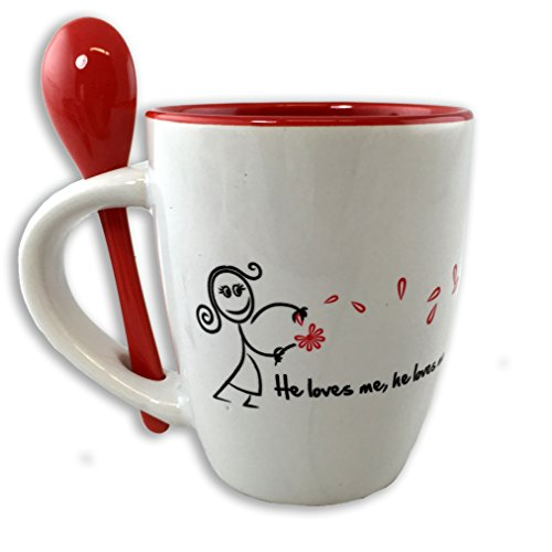 He Loves Me Bistro Spooner Coffee Mug Gift Set (Oregon Coffee Gift Baskets)
