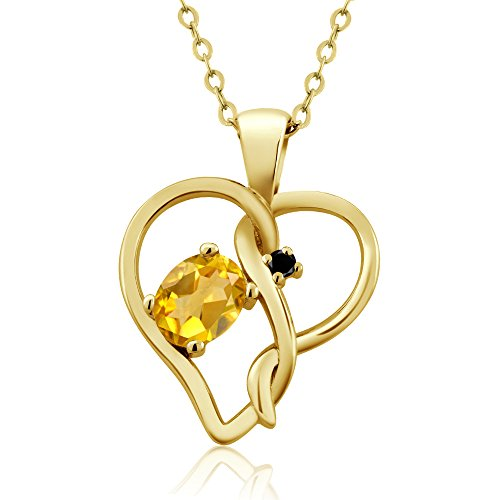 Gem Stone King 0.41 Ct Oval Yellow Citrine Black Diamond 18K Yellow Gold Plated Silver Pendant ()