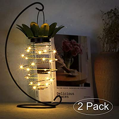 Tiuanh 2 Pack Hanging Solar Lights Pineapple Decorative Outdoor Solar Lanterns with Handle Lamp for Garden,Yard