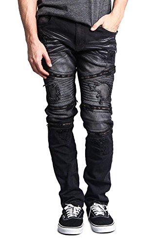 Victorious G-Style USA Men's Faded Wash Distressed Denim Biker Style High Fashion Jeans DL1088 - Black - 30/30 - HH8H