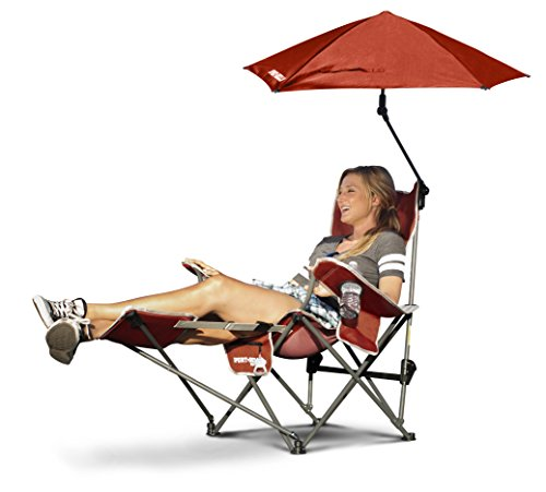 - Sport-Brella 3-Position Recliner Chair with Removable Umbrella and Footrest, Firebrick Red