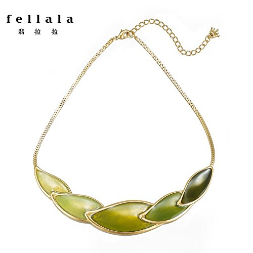 Gradient Olive (Fellala_Philippe_Lara_ clavicle chain necklace Pendant _happiness_olive_ green _gradient_exaggerated_ collar women girl accessories women girl _send_ girlfriend s)