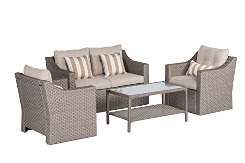 "SOLAURA Outdoor Patio Furniture Set 5-Piece Conversation Set All Weather Wicker Furniture Sofa Set with Sophisticated Glass Coffee Table-Gray - 【Timeless & Sophisticate Design】 This hand-woven rich warm gray rattan furniture comes with 1 double sofa w/cushion, 2 single sofas w/cushions, 2 classic gold stripe throw pillows and 1 table with sophisticated glass. 【Dimentions】Single Chair:26.77""(W)x26.77""(D)x29.13""(H) Double Chair:51.57""(W)x26.77""(D)x29.13""(H) Table:36.22""(W)x19.69""(D)x17.7""(H) 【All-Weather Synthetic Wicker】 Engineered all-weather synthetic brown wicker to mimic the variegated look and feel of natural wicker. Carefully designed complex weave patterns for added strength and durability. The rich color provides a premium outdoor look. And it has extra wide seat width and depth perfect for lounging comfortably. - patio-furniture, patio, conversation-sets - 41XBsLSJw5L -"