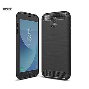 For Samsung Galaxy J5 Pro 2017 Carbon Fiber Hybrid Heavy Duty Case Cover (Black)