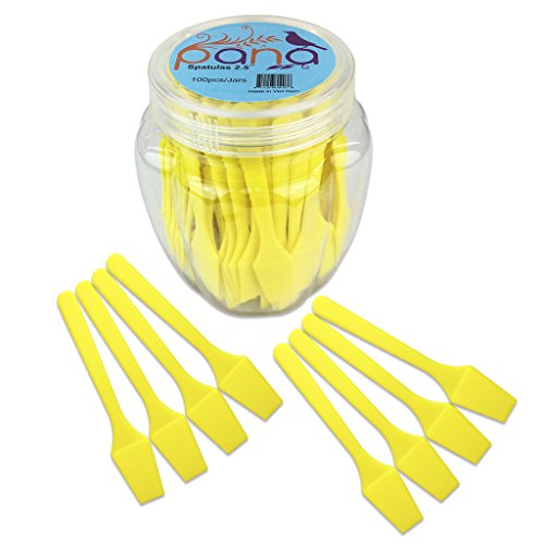 """Beauticom Pana Brand Cosmetic Make Up Disposable Plastic 2.5"""" Spatulas Skin Care Facial Cream Mask Spatula (100 Pieces in a Container) (YELLOW)"""