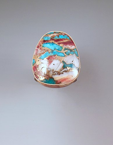 Kingman Turquoise and Purple Oyster- Smokey Gold Patina- Merlin's Gold- Metal Art- Oyster and Turquoise Ring