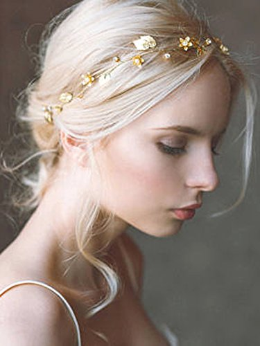(Yean Bride Wedding Hair Vine Headband Gold Leaf Bridal Accessories for Women (Gold))