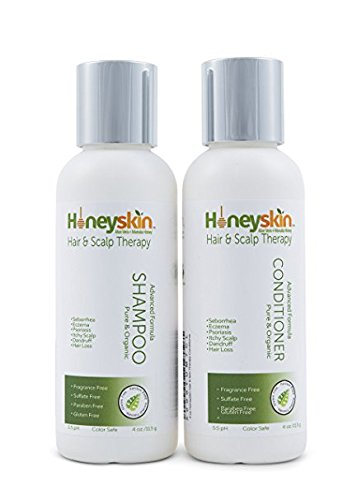 Honeyskin Organics Dry Scalp Treatment Shampoo Conditioner Set For Eczema, Psoriasis, Seborrhea, Dandruff, Itchy Scalp - Natural Organic Ingredients Of Manuka Honey & Aloe Vera (4 oz) Organics