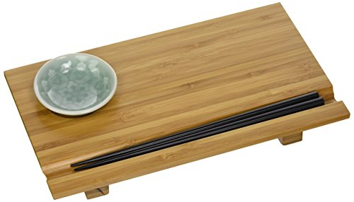 Chen Burnished Bamboo Joyce Chopstick (Joyce Chen 55-1106, Bamboo Sushi Board Set, 6-Inch by 10-1/2-Inch)