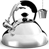 Tea Kettle - Stainless Steel Whistling Teapot with Capsule Bottom and Mirror Finish, 2.75 Quart Tea Pot - Stove Top Tea Maker Infuser Teapots Strainer Included (Single Handle)