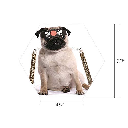 PTANGKK Hexagon Wall Sticker,Mural Decal,Pug,Ninja Puppy with Nunchuk Karate Dog Eastern Warrior Inspired Costume Pug Image Decorative,Cream Black Gold,for Home Decor 4.52x7.87 10 Pcs/Set ()