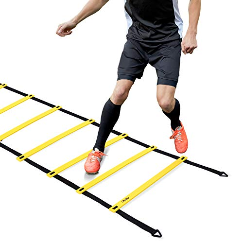 Agility Ladder, Ohuhu Speed Training Exercise Ladders for Soccer Football Boxing Footwork Sports Speed Agility Training with Carry Bag,20ft 12 Rung,Yellow