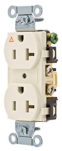 Hubbell Wiring Systems IG5352LA SpikeShield Heavy Duty Specification Grade Straight Blade Isolated Ground Receptacle, 125V, 20A, 1 HP, 2-Pole, 3-Wire, Light Almond