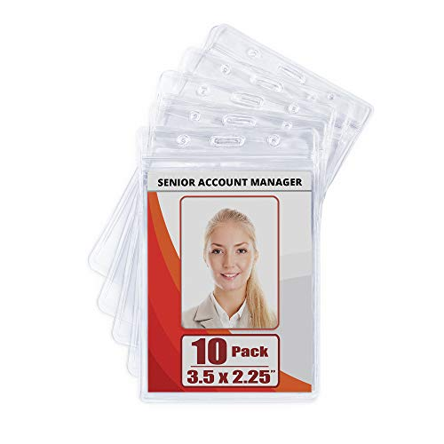 MIFFLIN Plastic Waterproof ID Badge Holders (Clear, 3.5x2.25 Inch, 10 Pack), Vertical Hanging Name Card Holder with Zipper, Resealable Bulk Nametag Holders