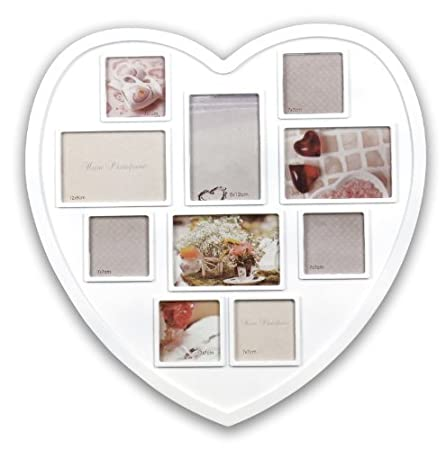 New White Hanging Heart Shaped Large Photo Frame Multi Picture Love ...