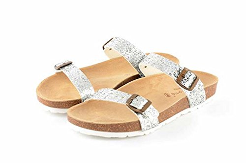 Color Footbed Cork with Sandal Women's Le with Clare Glitter Silver Anatomical nTAF8Yx