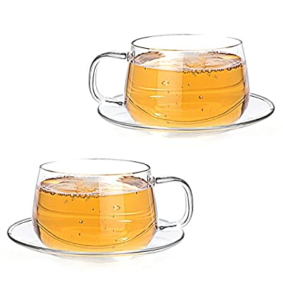 Tealyra - La Lune - 10.1-ounce - Clear and Lightweight Glass Tea and Coffee Cup with Saucer - 300ml