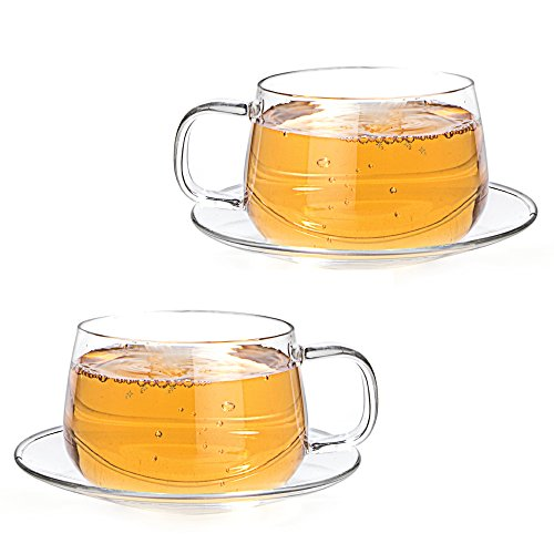 Tealyra - La Lune - Glasses - 10.1-ounce - Set of 2 - Clear and Lightweight Glass Tea and Coffee Cup with Saucer - (De Lune Cup)