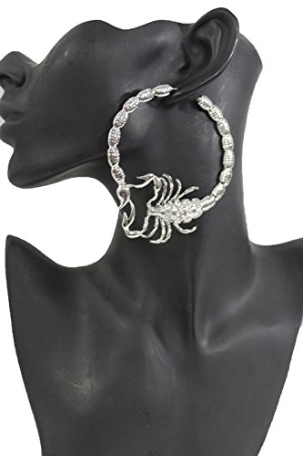 TFJ Women Fashion Hook Earrings Set Big Silver Color Metal Scorpion Hoop Rhinestones