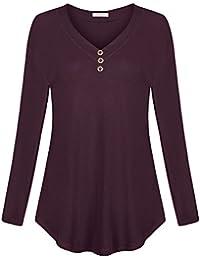 Women's Drop Shoulder Shirt V Neck Top With Buttons