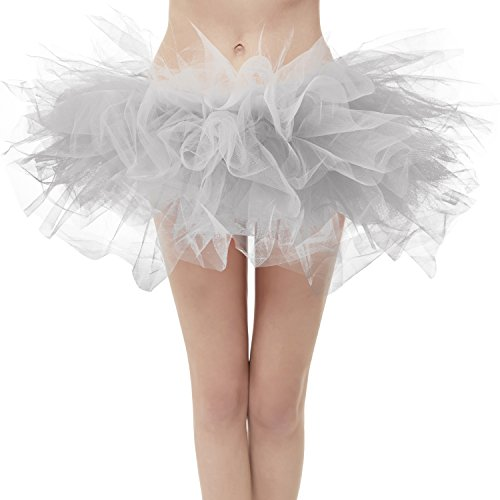 Dresstore Women's Vintage 5 LayeSilver Tulle Tutu Puffy Ballet Bubble Skirt Silver Plus Size -